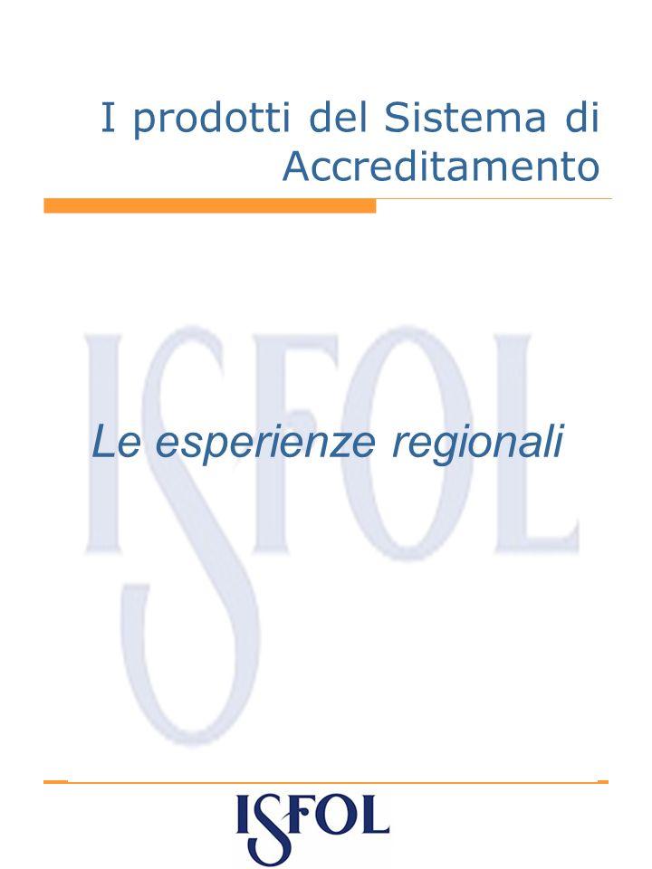 I prodotti del Sistema di Accreditamento Le esperienze regionali