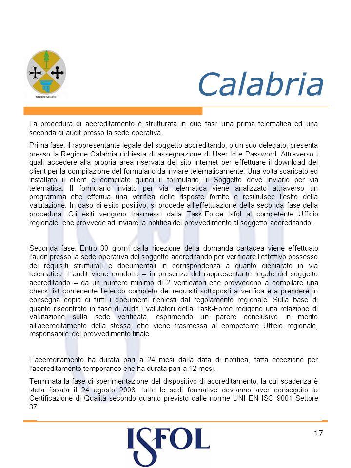 17 Calabria La procedura di accreditamento è strutturata in due fasi: una prima telematica ed una seconda di audit presso la sede operativa.