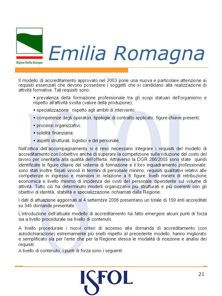 21 Emilia Romagna Il modello di accreditamento approvato nel 2003 pone una nuova e particolare attenzione ai requisiti essenziali che devono possedere i soggetti che si candidano alla realizzazione di attività formative.
