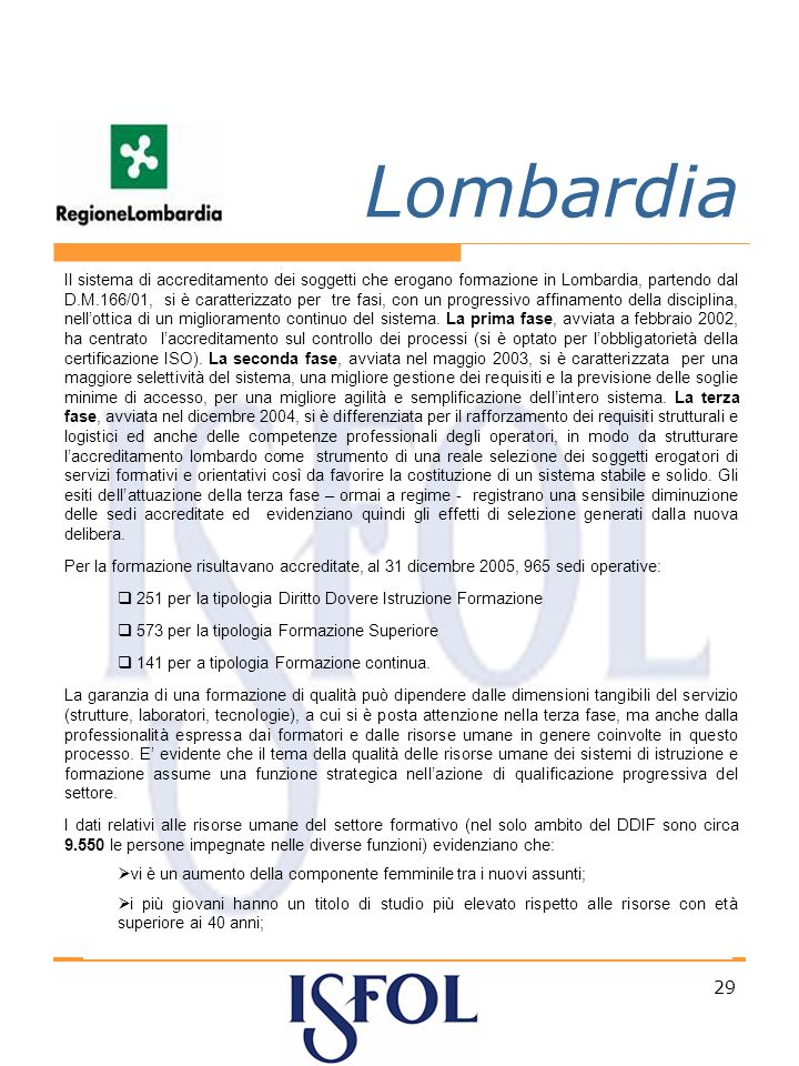 29 Lombardia Il sistema di accreditamento dei soggetti che erogano formazione in Lombardia, partendo dal D.M.166/01, si è caratterizzato per tre fasi, con un progressivo affinamento della disciplina, nellottica di un miglioramento continuo del sistema.