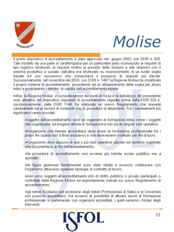 33 Molise Il primo dispositivo di accreditamento è stato approvato nel giugno 2003, con DGR n.