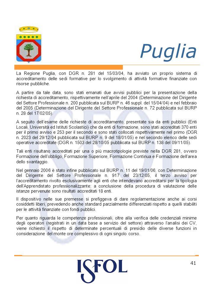 41 Puglia La Regione Puglia, con DGR n.
