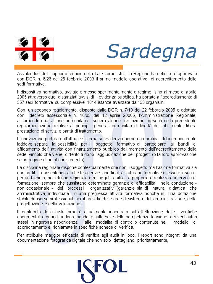 43 Sardegna Avvalendosi del supporto tecnico della Task force Isfol, la Regione ha definito e approvato con DGR n.