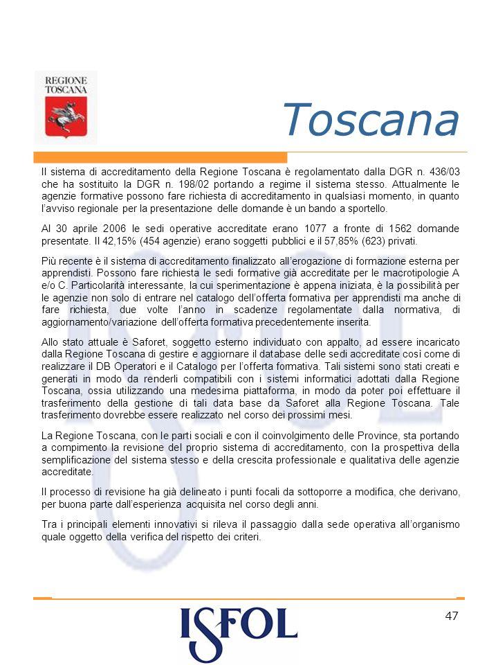 47 Toscana Il sistema di accreditamento della Regione Toscana è regolamentato dalla DGR n.