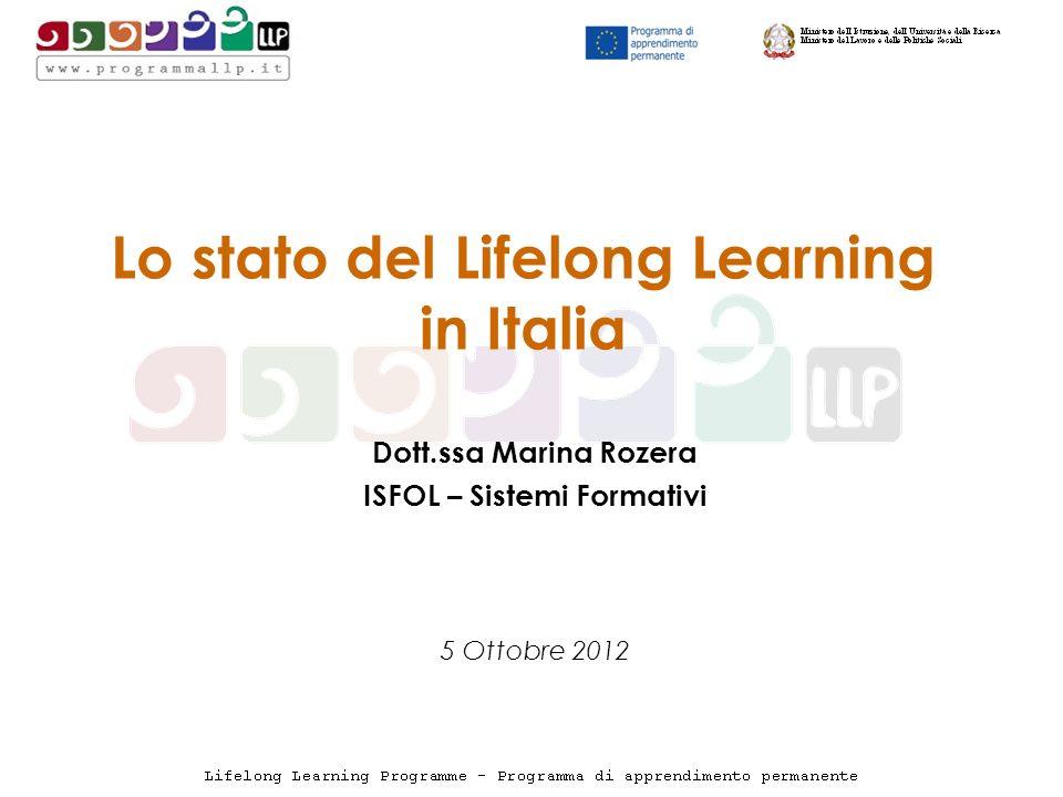 Lo stato del Lifelong Learning in Italia Dott.ssa Marina Rozera ISFOL – Sistemi Formativi 5 Ottobre 2012