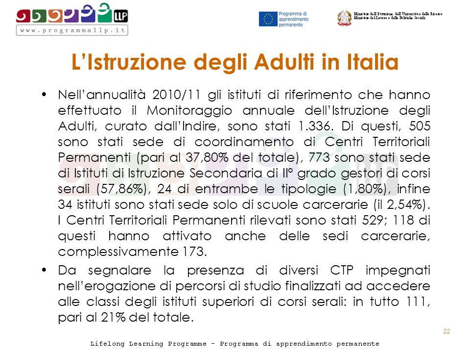 LIstruzione degli Adulti in Italia Nellannualità 2010/11 gli istituti di riferimento che hanno effettuato il Monitoraggio annuale dellIstruzione degli Adulti, curato dallIndire, sono stati 1.336.