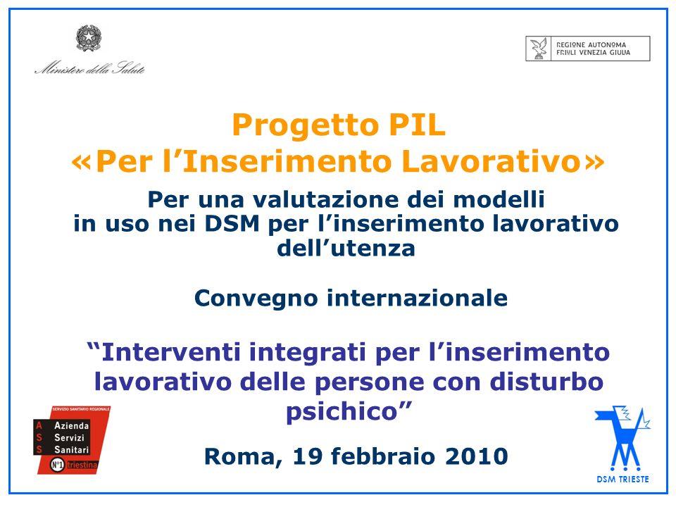 Progetto Inserimento Lavorativo Progetto di Ricerca Sanitaria Finalizzata (1) Obiettivo: Raccolta di informazioni in 19 Regioni e 2 Province Autonome sui PilDSM: programmi per la formazione, riqualificazione professionale e inserimento lavorativo delle persone con disturbo psichico promossi dai DSM italiani