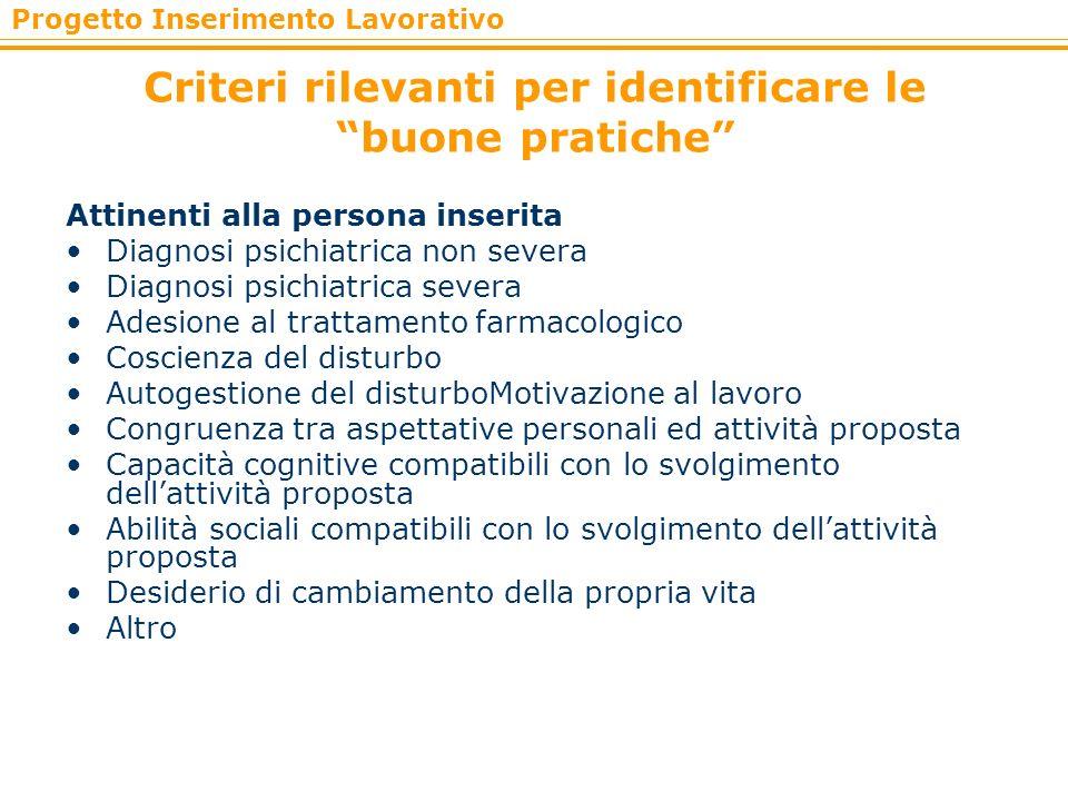 Progetto Inserimento Lavorativo Criteri rilevanti per identificare le buone pratiche Attinenti alla persona inserita Diagnosi psichiatrica non severa