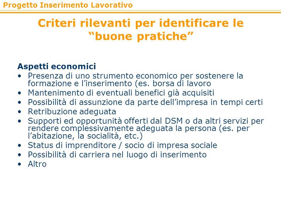 Progetto Inserimento Lavorativo Criteri rilevanti per identificare le buone pratiche Aspetti economici Presenza di uno strumento economico per sostene