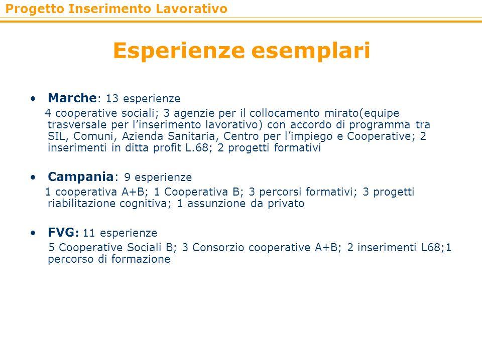 Progetto Inserimento Lavorativo Esperienze esemplari Marche : 13 esperienze 4 cooperative sociali; 3 agenzie per il collocamento mirato(equipe trasver