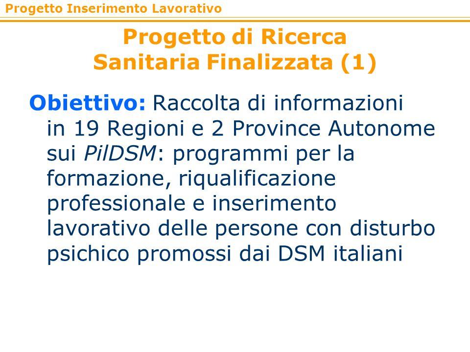 Progetto Inserimento Lavorativo Progetto di Ricerca Sanitaria Finalizzata (1) Obiettivo: Raccolta di informazioni in 19 Regioni e 2 Province Autonome