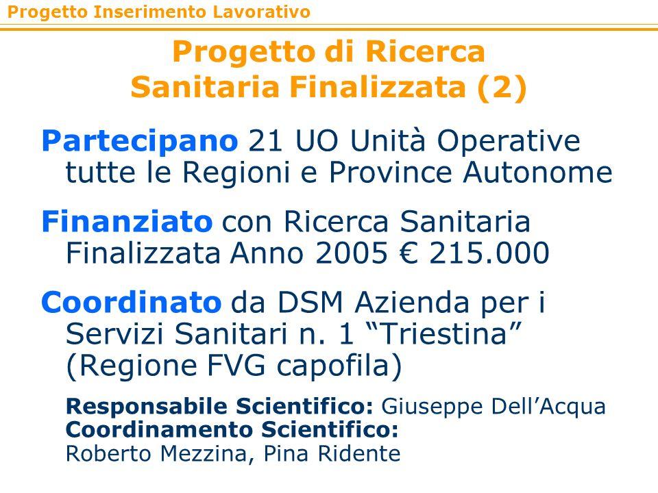 Progetto Inserimento Lavorativo Progetto di Ricerca Sanitaria Finalizzata (2) Partecipano 21 UO Unità Operative tutte le Regioni e Province Autonome F