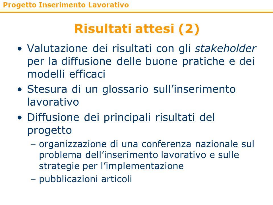 Progetto Inserimento Lavorativo Risultati attesi (2) Valutazione dei risultati con gli stakeholder per la diffusione delle buone pratiche e dei modell
