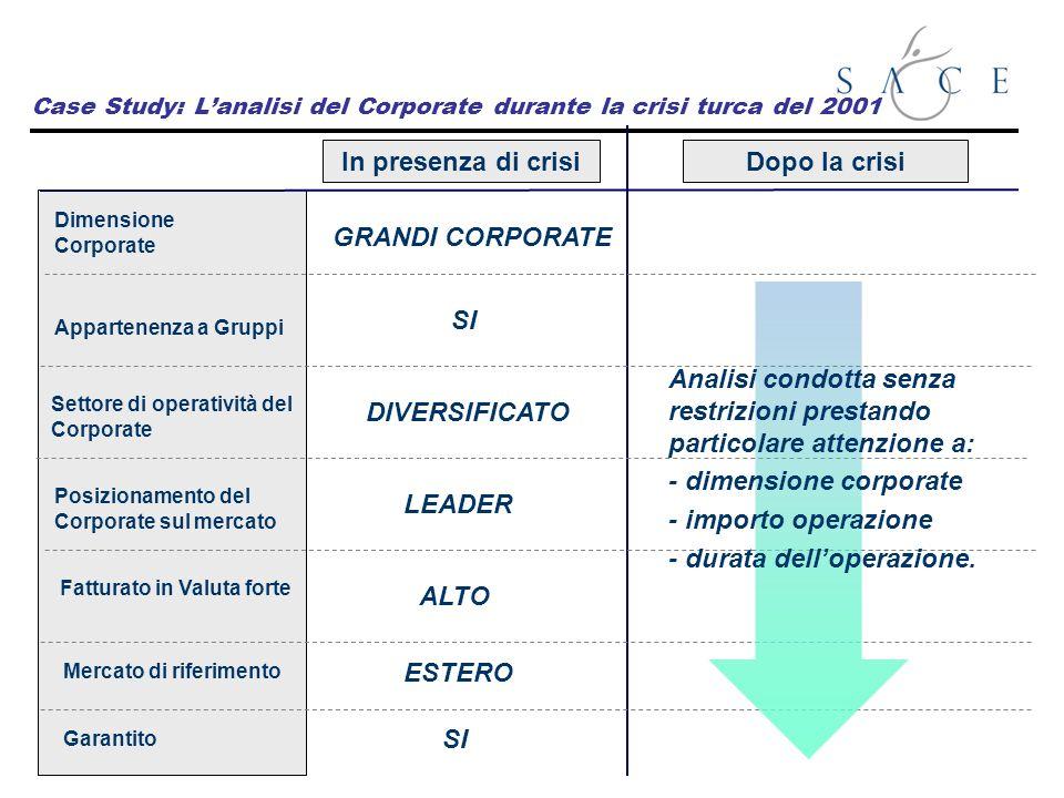 Dimensione Corporate Dopo la crisiIn presenza di crisi Case Study: Lanalisi del Corporate durante la crisi turca del 2001 GRANDI CORPORATE Posizioname