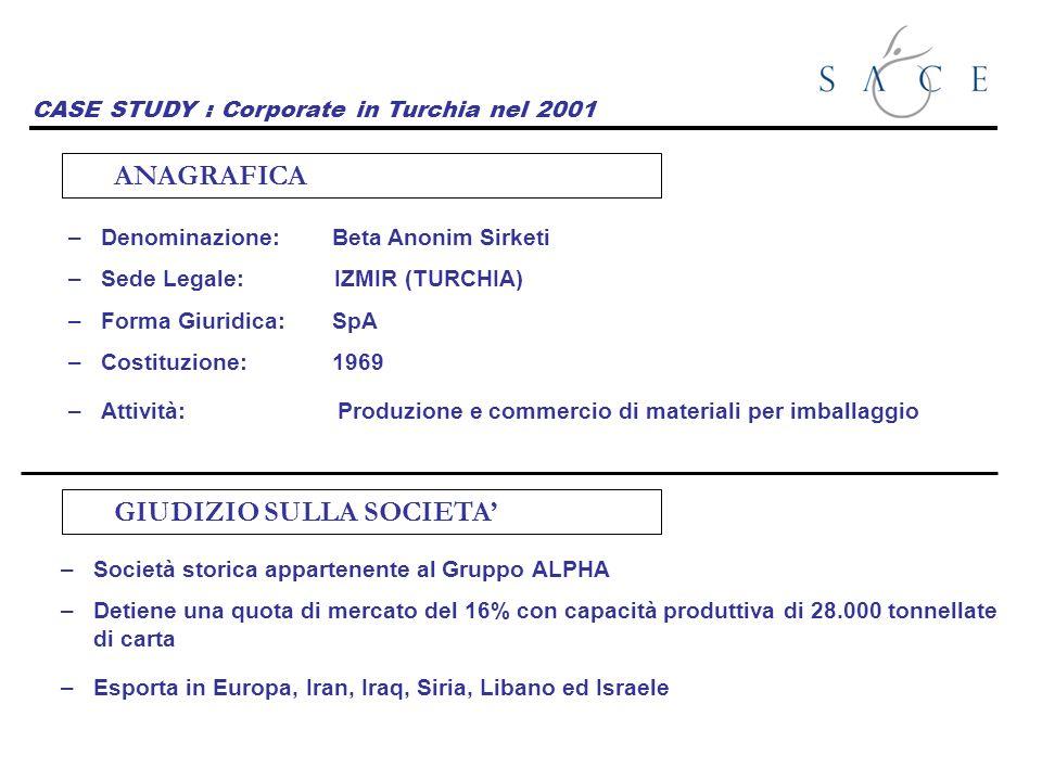 CASE STUDY : Corporate in Turchia nel 2001 –Denominazione: Beta Anonim Sirketi –Sede Legale: IZMIR (TURCHIA) –Forma Giuridica: SpA –Costituzione: 1969 –Attività: Produzione e commercio di materiali per imballaggio ANAGRAFICA GIUDIZIO SULLA SOCIETA –Società storica appartenente al Gruppo ALPHA –Detiene una quota di mercato del 16% con capacità produttiva di 28.000 tonnellate di carta –Esporta in Europa, Iran, Iraq, Siria, Libano ed Israele