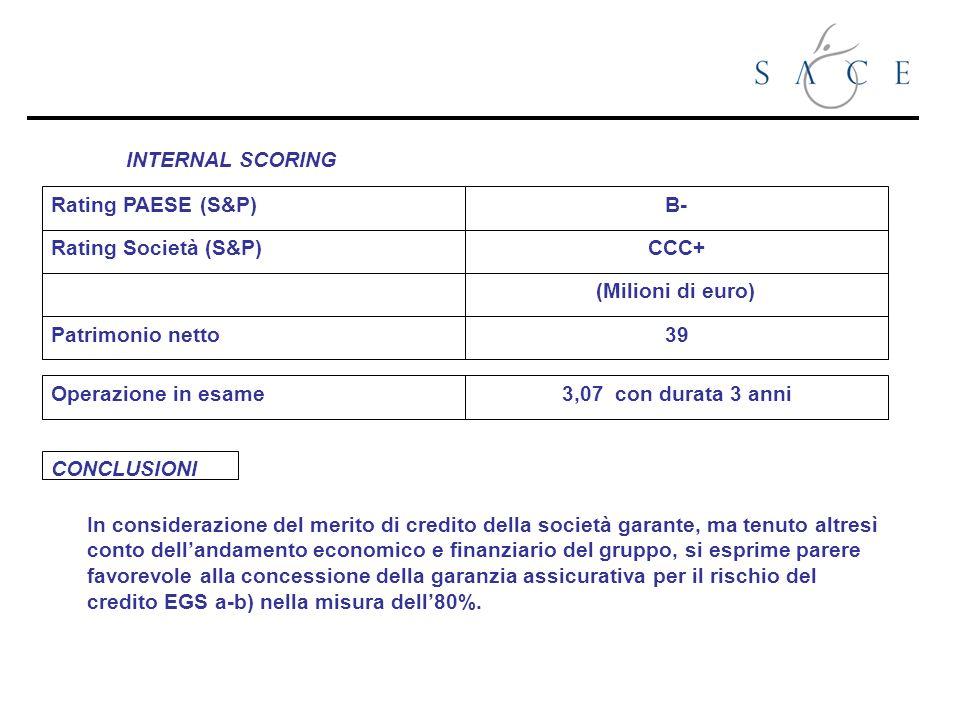 INTERNAL SCORING Rating PAESE (S&P) Rating Società (S&P) Patrimonio netto Operazione in esame B- CCC+ (Milioni di euro) 39 3,07 con durata 3 anni In c