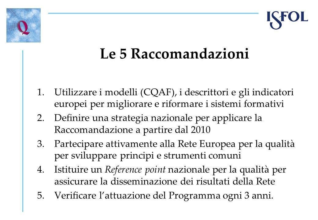 Le 5 Raccomandazioni 1.Utilizzare i modelli (CQAF), i descrittori e gli indicatori europei per migliorare e riformare i sistemi formativi 2.Definire una strategia nazionale per applicare la Raccomandazione a partire dal 2010 3.Partecipare attivamente alla Rete Europea per la qualità per sviluppare principi e strumenti comuni 4.Istituire un Reference point nazionale per la qualità per assicurare la disseminazione dei risultati della Rete 5.Verificare lattuazione del Programma ogni 3 anni.