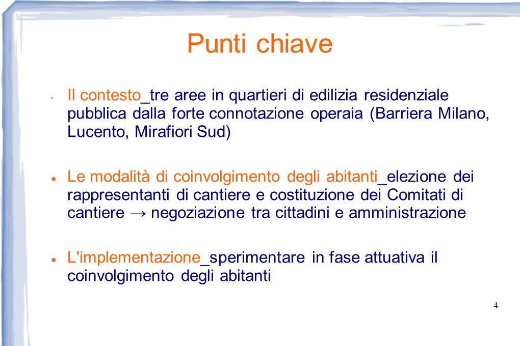 4 Punti chiave Il contesto_tre aree in quartieri di edilizia residenziale pubblica dalla forte connotazione operaia (Barriera Milano, Lucento, Mirafio
