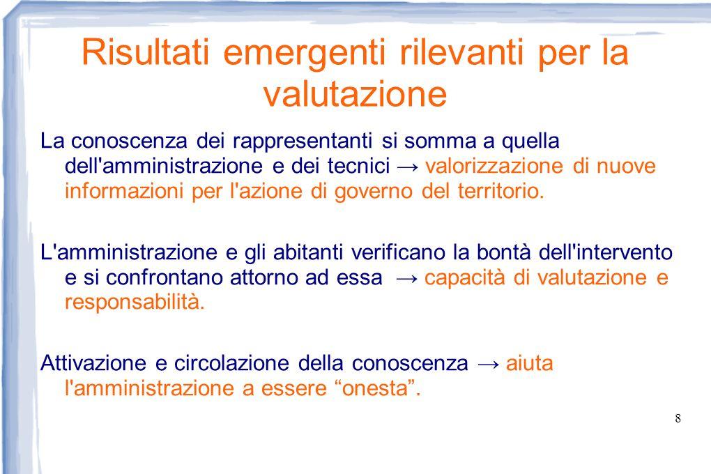 8 Risultati emergenti rilevanti per la valutazione La conoscenza dei rappresentanti si somma a quella dell'amministrazione e dei tecnici valorizzazion