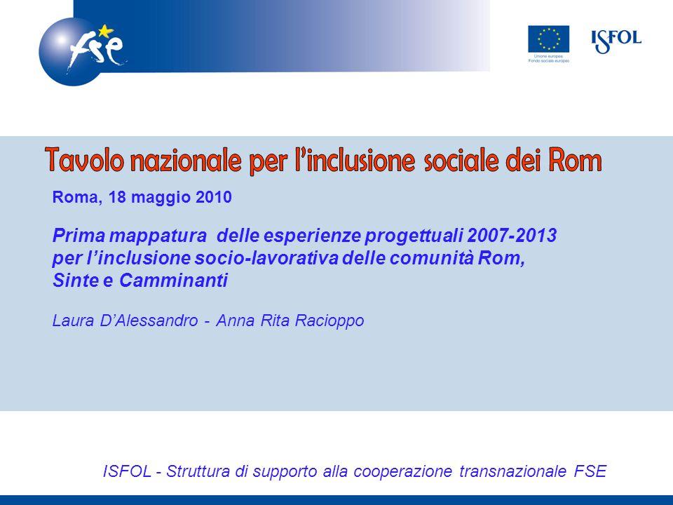 ISFOL - Struttura di supporto alla cooperazione transnazionale FSE Roma, 18 maggio 2010 Prima mappatura delle esperienze progettuali 2007-2013 per linclusione socio-lavorativa delle comunità Rom, Sinte e Camminanti Laura DAlessandro - Anna Rita Racioppo