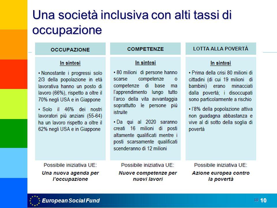European Social Fund10 10 Una società inclusiva con alti tassi di occupazione