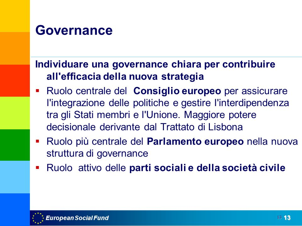 European Social Fund13 13 Governance Individuare una governance chiara per contribuire all efficacia della nuova strategia Ruolo centrale del Consiglio europeo per assicurare I integrazione delle politiche e gestire I interdipendenza tra gli Stati membri e I Unione.