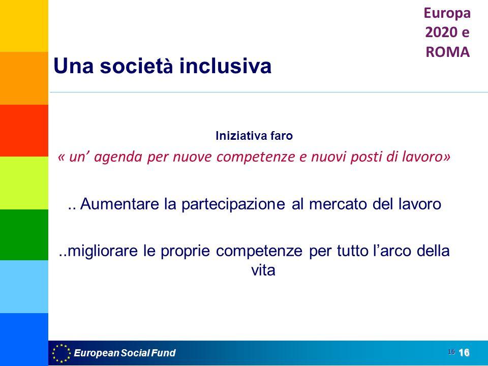 European Social Fund16 16 Una societ à inclusiva Iniziativa faro « un agenda per nuove competenze e nuovi posti di lavoro»..
