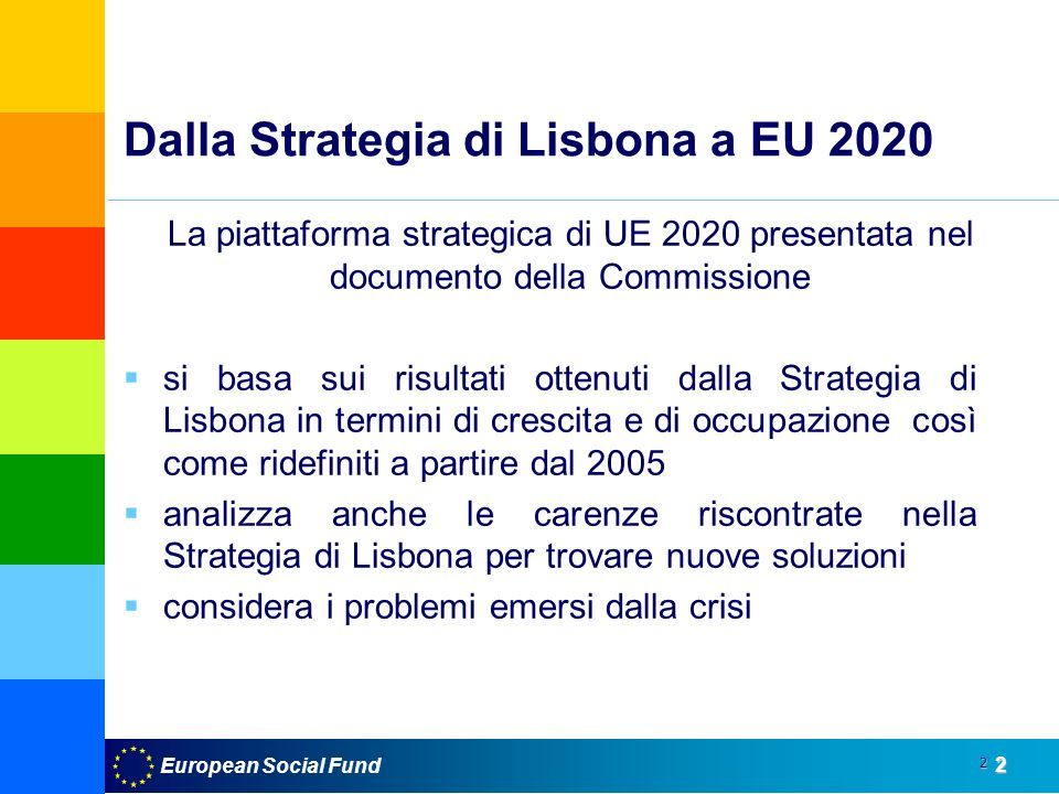 European Social Fund2 2 Dalla Strategia di Lisbona a EU 2020 La piattaforma strategica di UE 2020 presentata nel documento della Commissione si basa sui risultati ottenuti dalla Strategia di Lisbona in termini di crescita e di occupazione così come ridefiniti a partire dal 2005 analizza anche le carenze riscontrate nella Strategia di Lisbona per trovare nuove soluzioni considera i problemi emersi dalla crisi