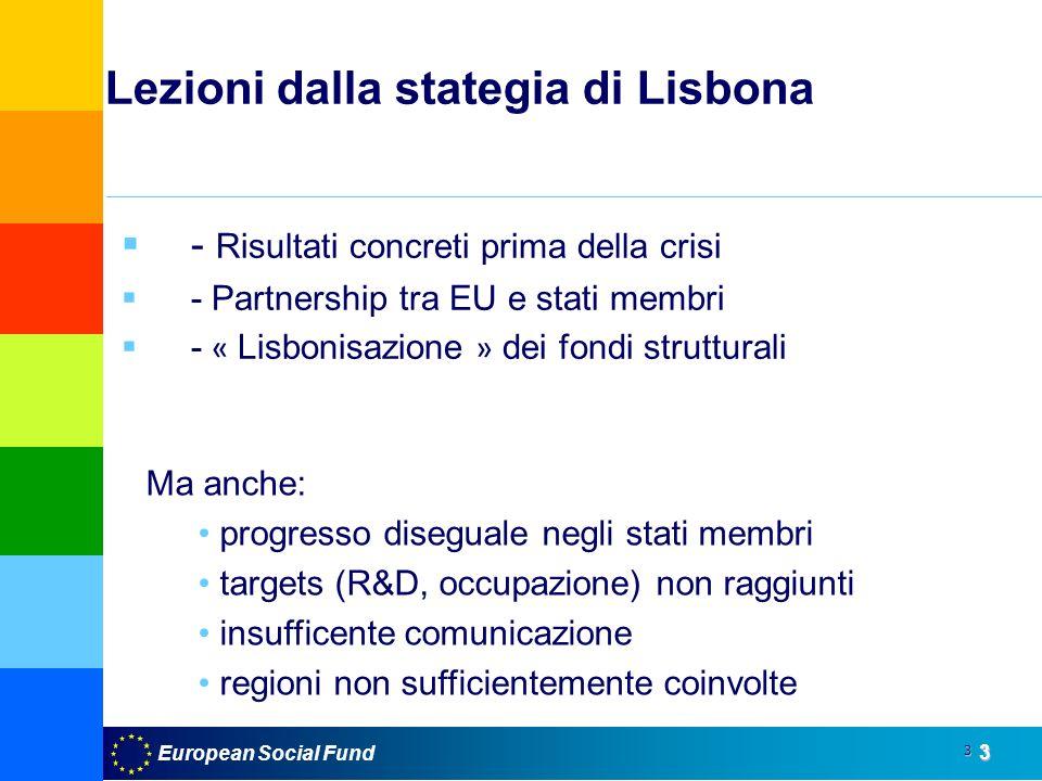 European Social Fund3 3 Lezioni dalla stategia di Lisbona - Risultati concreti prima della crisi - Partnership tra EU e stati membri - « Lisbonisazione » dei fondi strutturali Ma anche: progresso diseguale negli stati membri targets (R&D, occupazione) non raggiunti insufficente comunicazione regioni non sufficientemente coinvolte