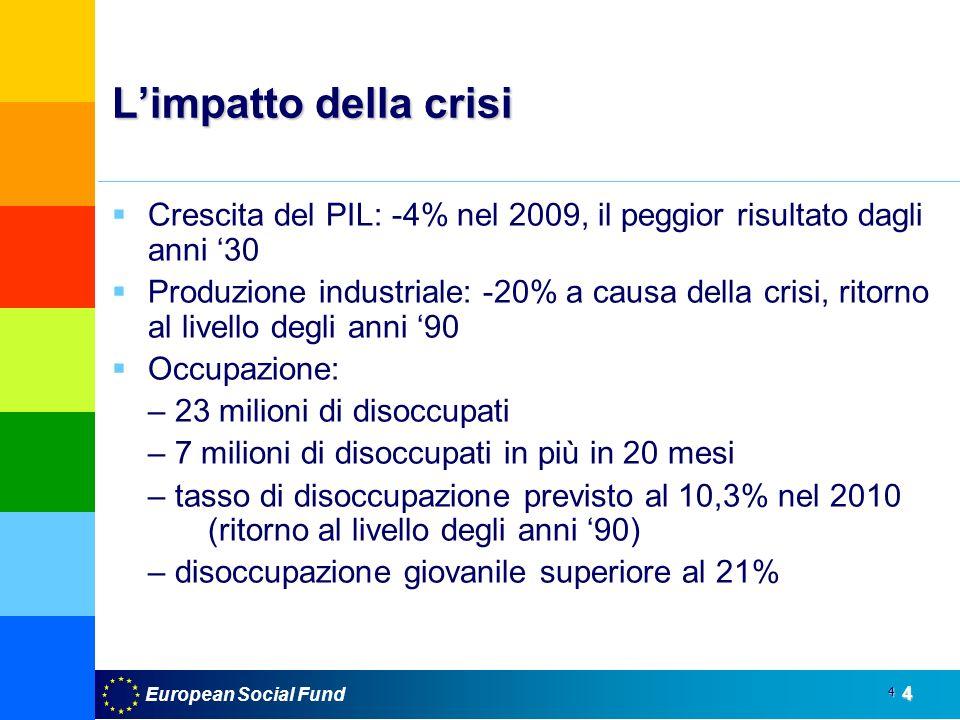 European Social Fund4 4 Limpatto della crisi Crescita del PIL: -4% nel 2009, il peggior risultato dagli anni 30 Produzione industriale: -20% a causa d