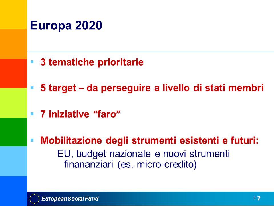 7 7 Europa 2020 3 tematiche prioritarie 5 target – da perseguire a livello di stati membri 7 iniziative faro Mobilitazione degli strumenti esistenti e futuri: EU, budget nazionale e nuovi strumenti finananziari (es.