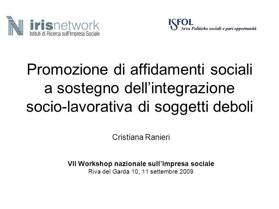 Promozione di affidamenti sociali a sostegno dellintegrazione socio-lavorativa di soggetti deboli Cristiana Ranieri VII Workshop nazionale sullimpresa