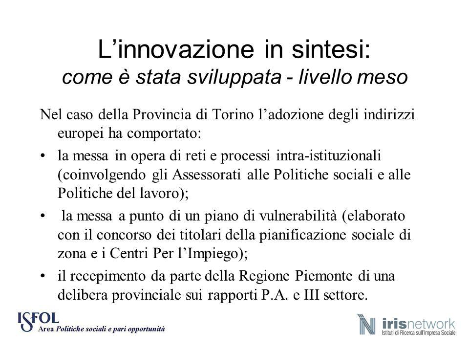 Linnovazione in sintesi: come è stata sviluppata - livello meso Nel caso della Provincia di Torino ladozione degli indirizzi europei ha comportato: la