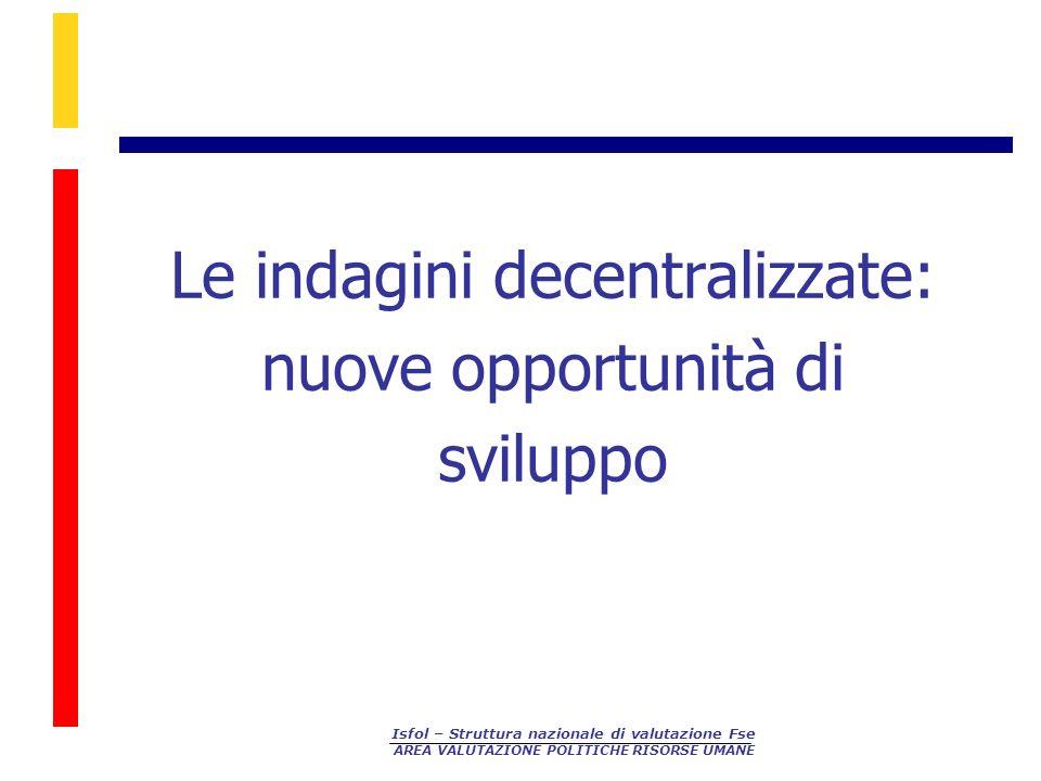 Isfol – Struttura nazionale di valutazione Fse AREA VALUTAZIONE POLITICHE RISORSE UMANE Le indagini decentralizzate: nuove opportunità di sviluppo