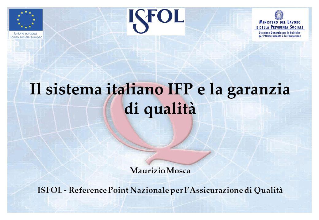 Il sistema italiano IFP e la garanzia di qualità Maurizio Mosca ISFOL - Reference Point Nazionale per lAssicurazione di Qualità