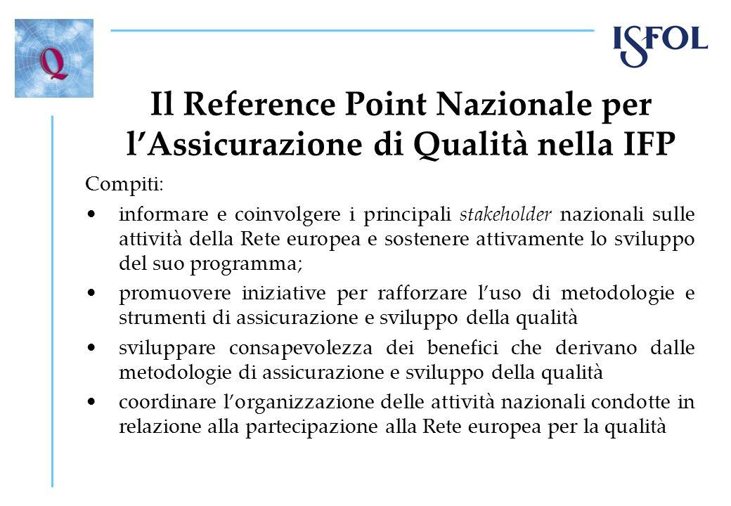 Il Reference Point Nazionale per lAssicurazione di Qualità nella IFP Compiti: informare e coinvolgere i principali stakeholder nazionali sulle attivit