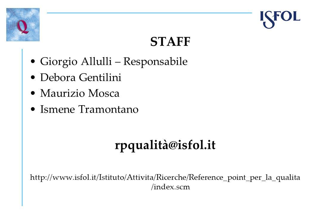 STAFF Giorgio Allulli – Responsabile Debora Gentilini Maurizio Mosca Ismene Tramontano rpqualità@isfol.it http://www.isfol.it/Istituto/Attivita/Ricerc