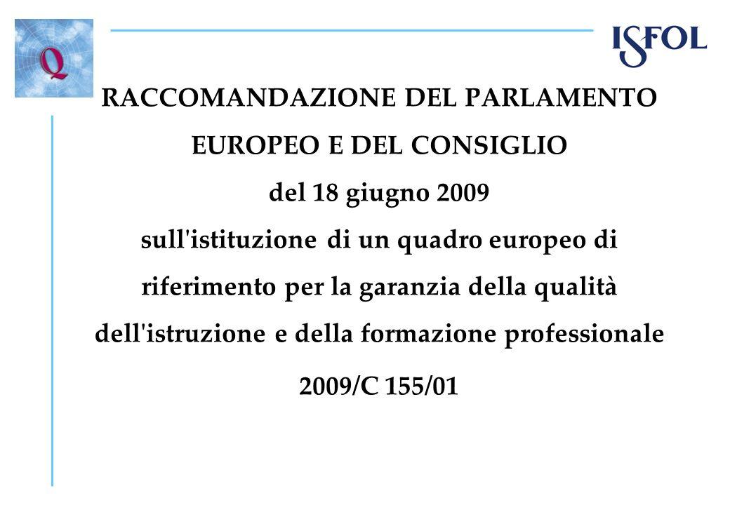 La Raccomandazione contiene: Indirizzi di policy per gli Stati Membri; Agenda, 18.06.11 approccio nazionale e 2013 valutazione ed eventuale revisione; Strumenti, con criteri, descrittori ed indicatori ; Prassi, con i contributi dei QANRP; Ispirazione comune, per sviluppare approcci locali alla garanzia di qualità coerenti con il Quadro e con EQF.