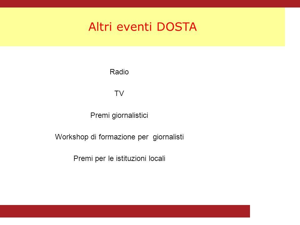 Altri eventi DOSTA Radio TV Premi giornalistici Workshop di formazione per giornalisti Premi per le istituzioni locali