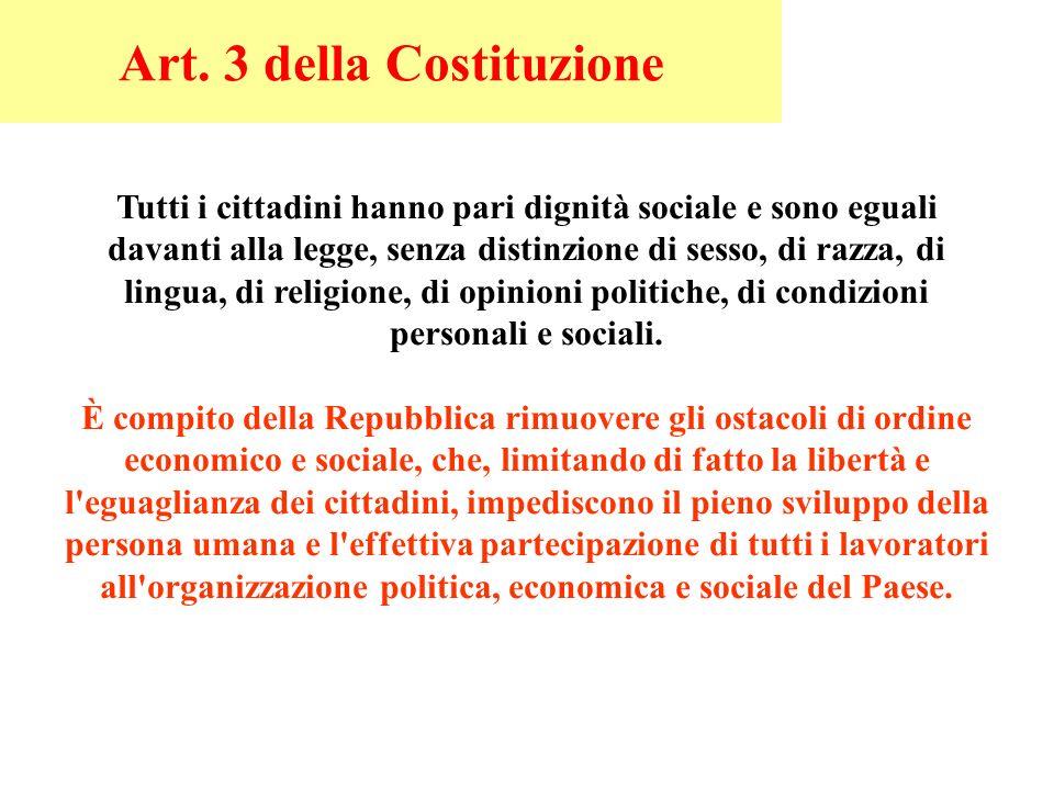 Art. 3 della Costituzione Tutti i cittadini hanno pari dignità sociale e sono eguali davanti alla legge, senza distinzione di sesso, di razza, di ling