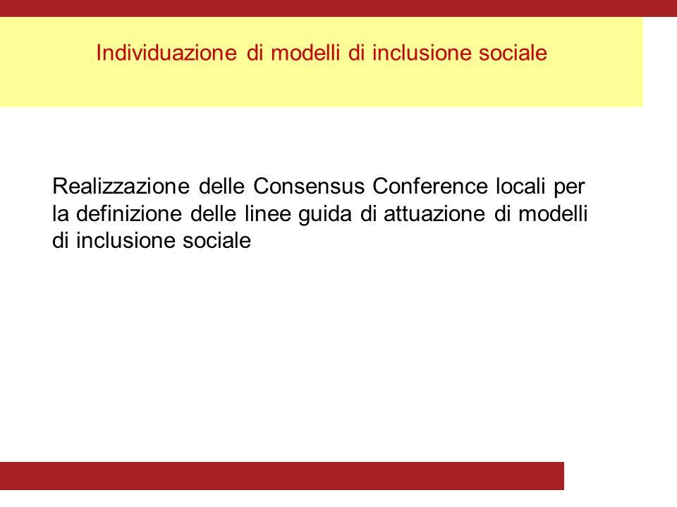 Individuazione di modelli di inclusione sociale Realizzazione delle Consensus Conference locali per la definizione delle linee guida di attuazione di modelli di inclusione sociale