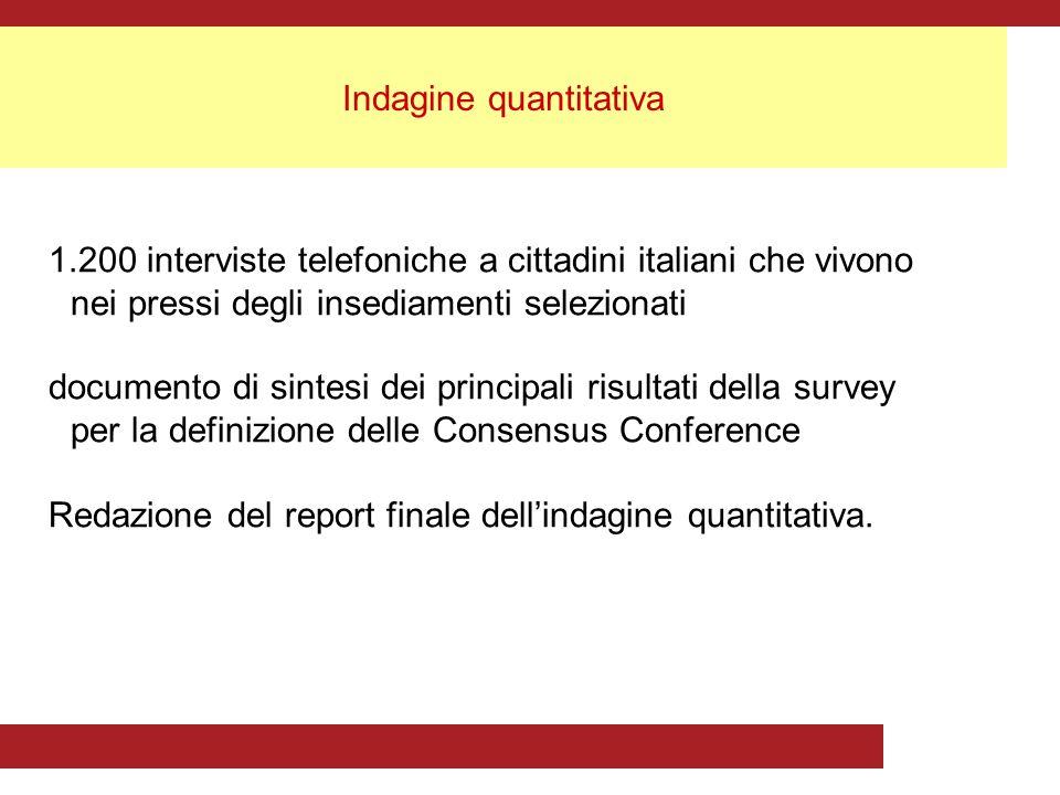 Indagine quantitativa 1.200 interviste telefoniche a cittadini italiani che vivono nei pressi degli insediamenti selezionati documento di sintesi dei principali risultati della survey per la definizione delle Consensus Conference Redazione del report finale dellindagine quantitativa.