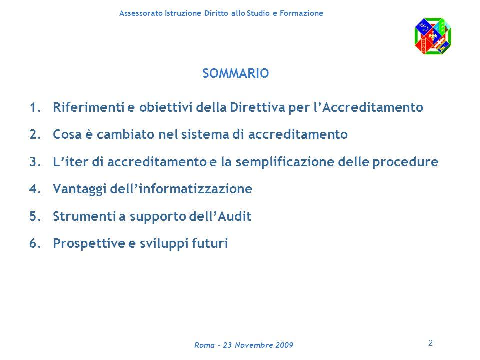 3 Assessorato Istruzione Diritto allo Studio e Formazione Roma – 23 Novembre 2009 1.