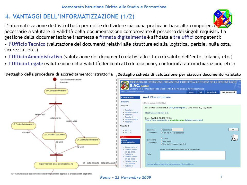 7 Assessorato Istruzione Diritto allo Studio e Formazione Roma – 23 Novembre 2009 4.