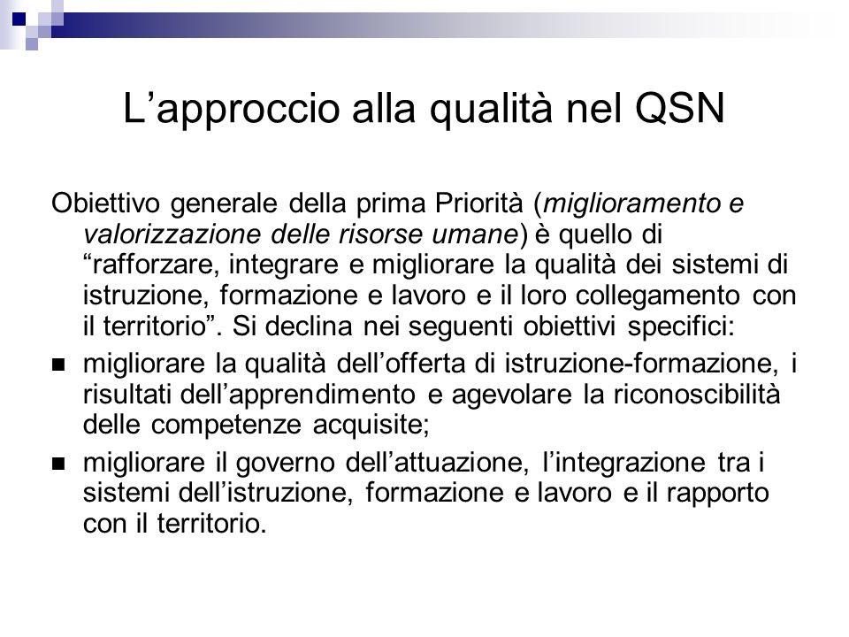Lapproccio alla qualità nel QSN Obiettivo generale della prima Priorità (miglioramento e valorizzazione delle risorse umane) è quello di rafforzare, i