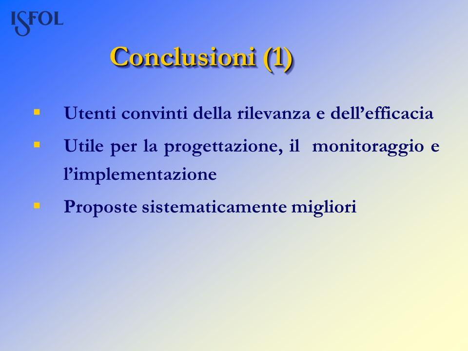 Conclusioni (1) Utenti convinti della rilevanza e dellefficacia Utile per la progettazione, il monitoraggio e limplementazione Proposte sistematicamen