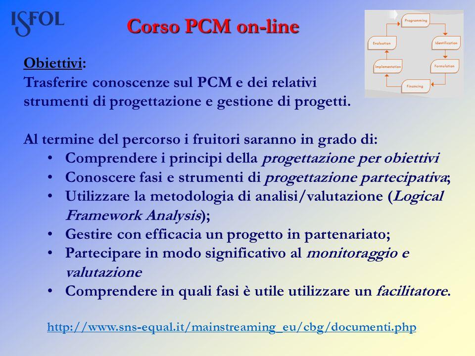 Corso PCM on-line Obiettivi: Trasferire conoscenze sul PCM e dei relativi strumenti di progettazione e gestione di progetti. Al termine del percorso i