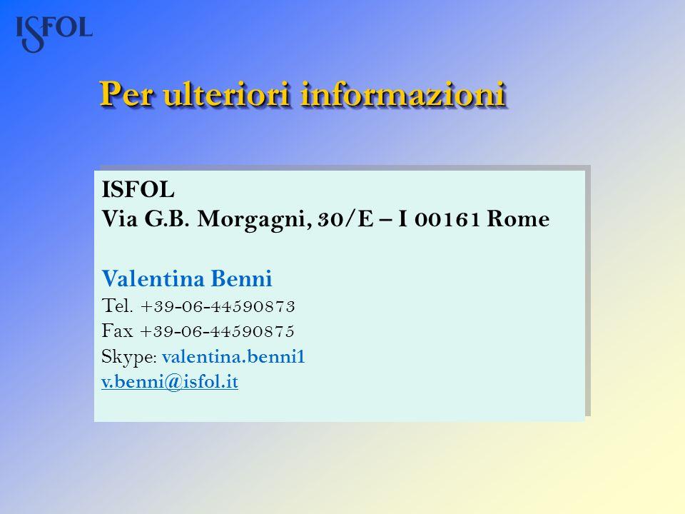 Per ulteriori informazioni ISFOL Via G.B. Morgagni, 30/E – I 00161 Rome Valentina Benni Tel. +39-06-44590873 Fax +39-06-44590875 Skype: valentina.benn