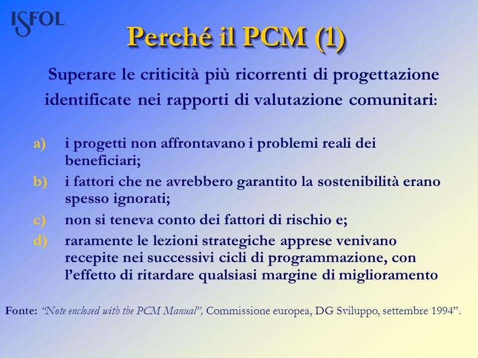 Perché il PCM (1) Superare le criticità più ricorrenti di progettazione identificate nei rapporti di valutazione comunitari : a)i progetti non affront