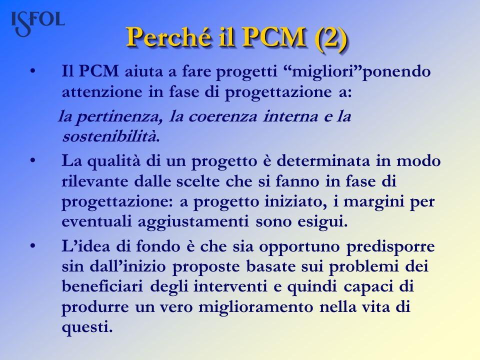 Perché il PCM (2) Il PCM aiuta a fare progetti miglioriponendo attenzione in fase di progettazione a: la pertinenza, la coerenza interna e la sostenib